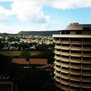University of Hawaii building at Manoa overlooking city.