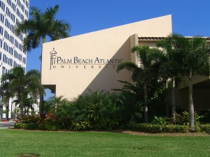 Palm Beach Atlantic University campus building with college name in brass lettering.