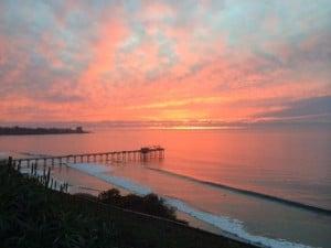 University of California San Diego beach view during sunset.