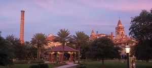 Main campus of Flagler College with trees in the field.