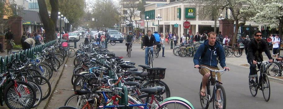Bikes near the University of Oregon campus, just one form of public transportation.