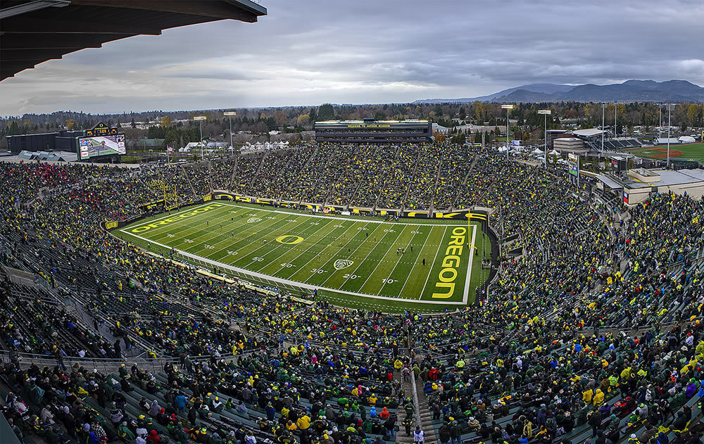 The Oregon football stadium can get very packed!
