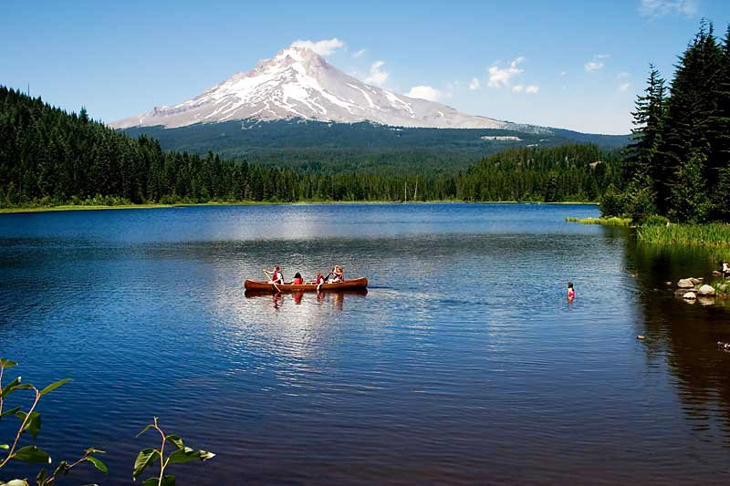 Trillium Lake in Oregon is just one of many lakes that offer great opportunities for water sports.