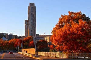 Schenley Park Bridge and the University of Pittsburgh campus.