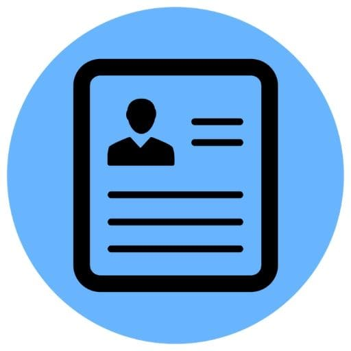 Blue resume icon
