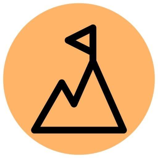 Orange mountain icon