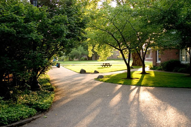 Reed College quad and Paradox at sunset.