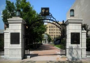 The entrance gate of George Washington University.
