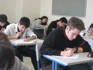 Students taking their ACT/SAT test inside the classroom.
