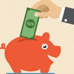 Hand dropping a dollar bill in a piggy bank.