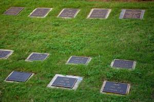 Metal plates in FSU's sod cemetery.