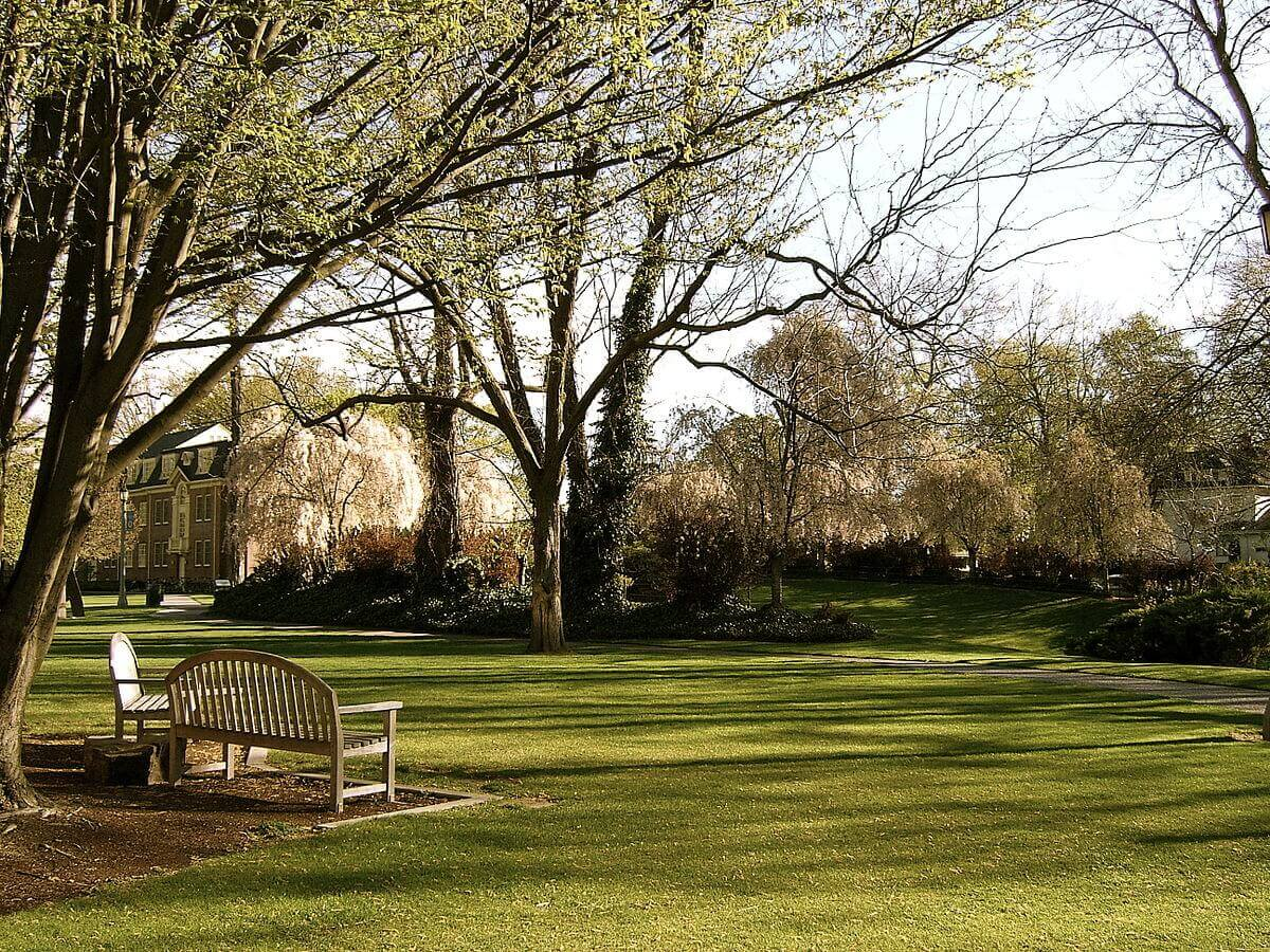 Campus lawn of Whitman College during early spring with building in the distance.