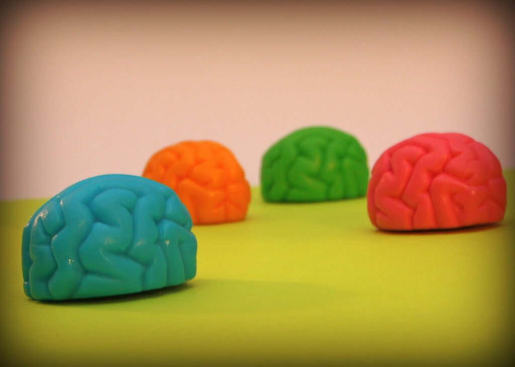 Brain stress balls in different colors.