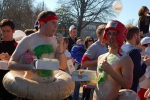 Students wearing donut costumes.