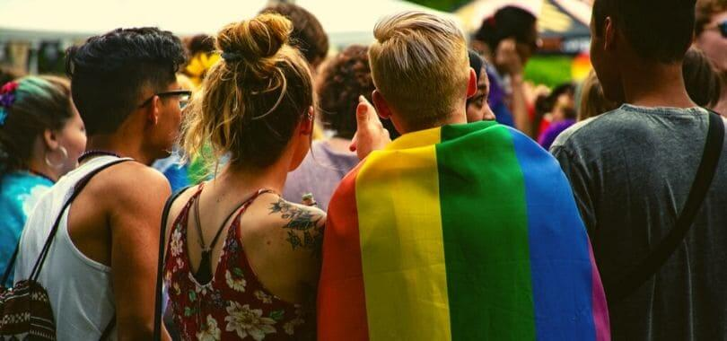 A group of students at a pride event.