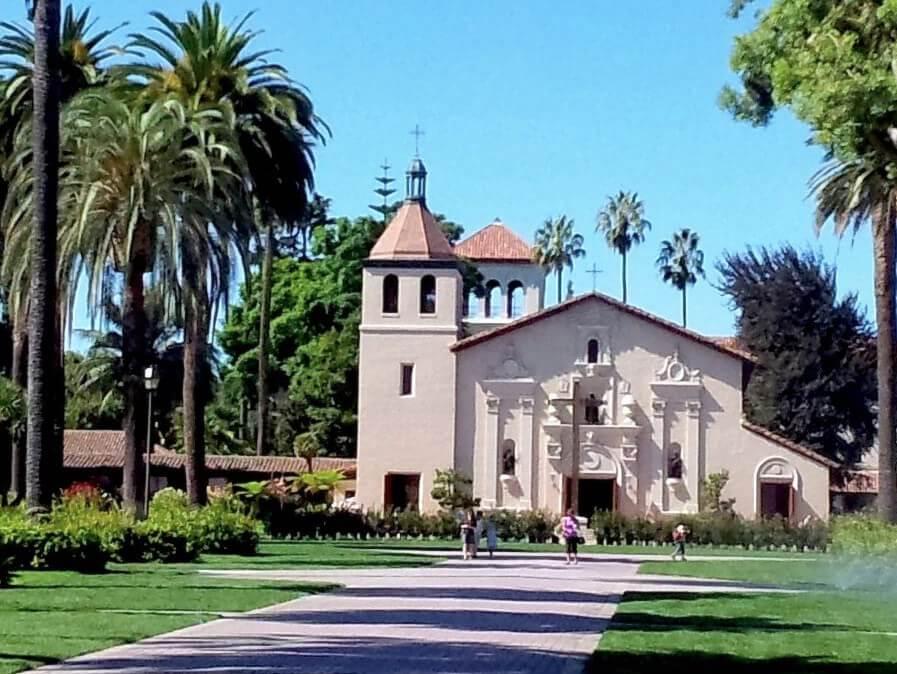 Mission Church and Walsh Administration Building at Santa Clara University.