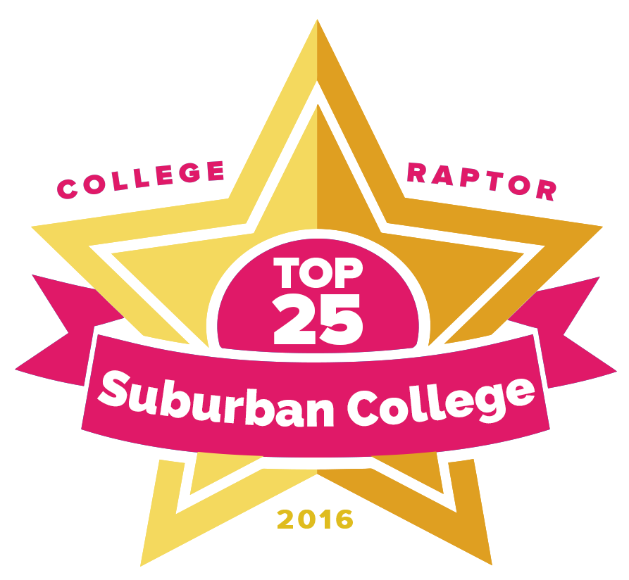 """College Raptor Rankings star badge that says """"Top 25 Suburban Colleges 2016""""."""