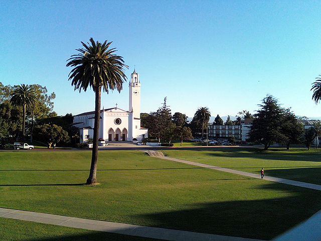 Loyola Marymount University view to Sacred Heart Chapel and Clock Tower.