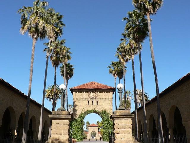 Stanford University main quad side architecture.