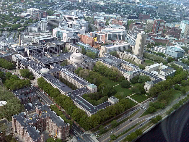 Massachusetts Institute of Technology's main campus aerial view.