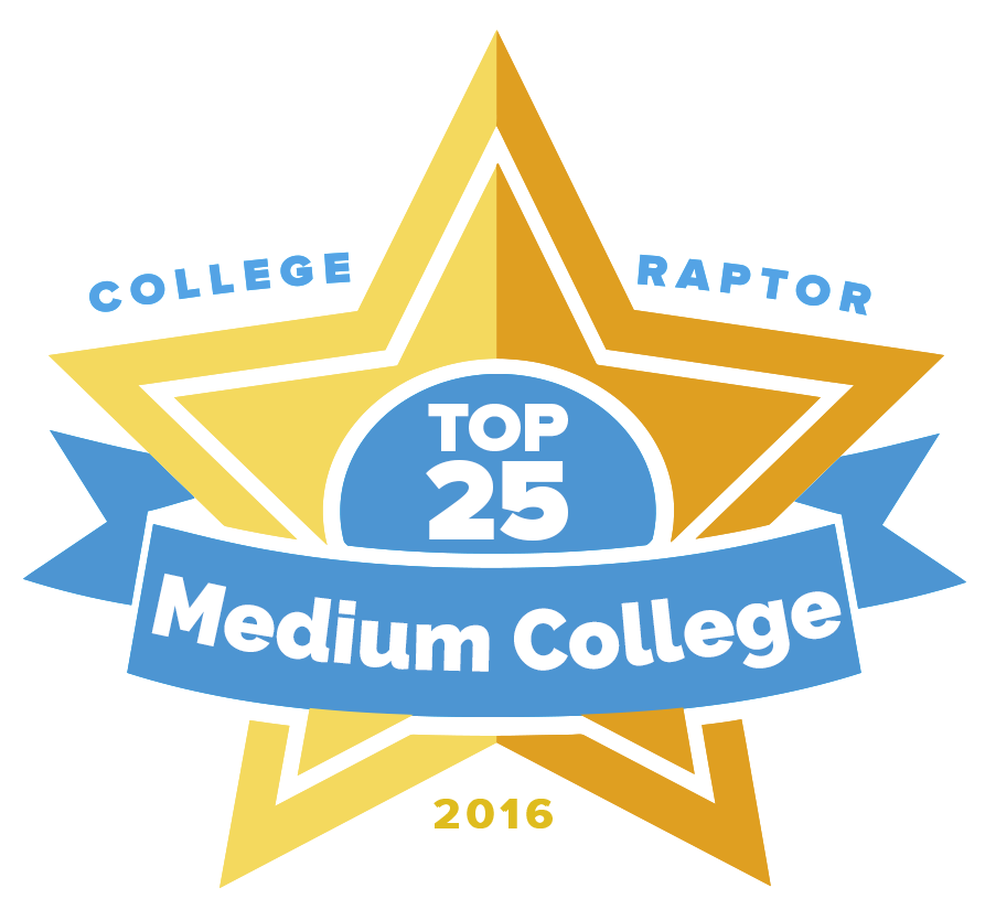 """A gold star badge that says """"College Raptor Top 25 Medium College 2016."""""""