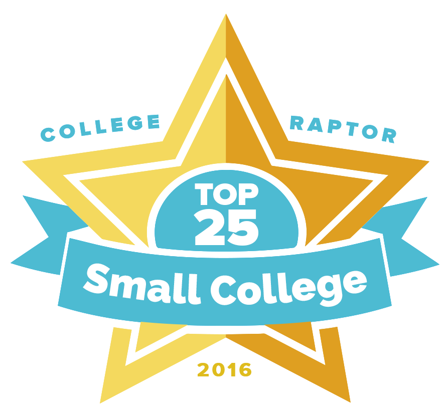 """A gold star badge that says """"College Raptor Top 25 Small College 2016."""""""