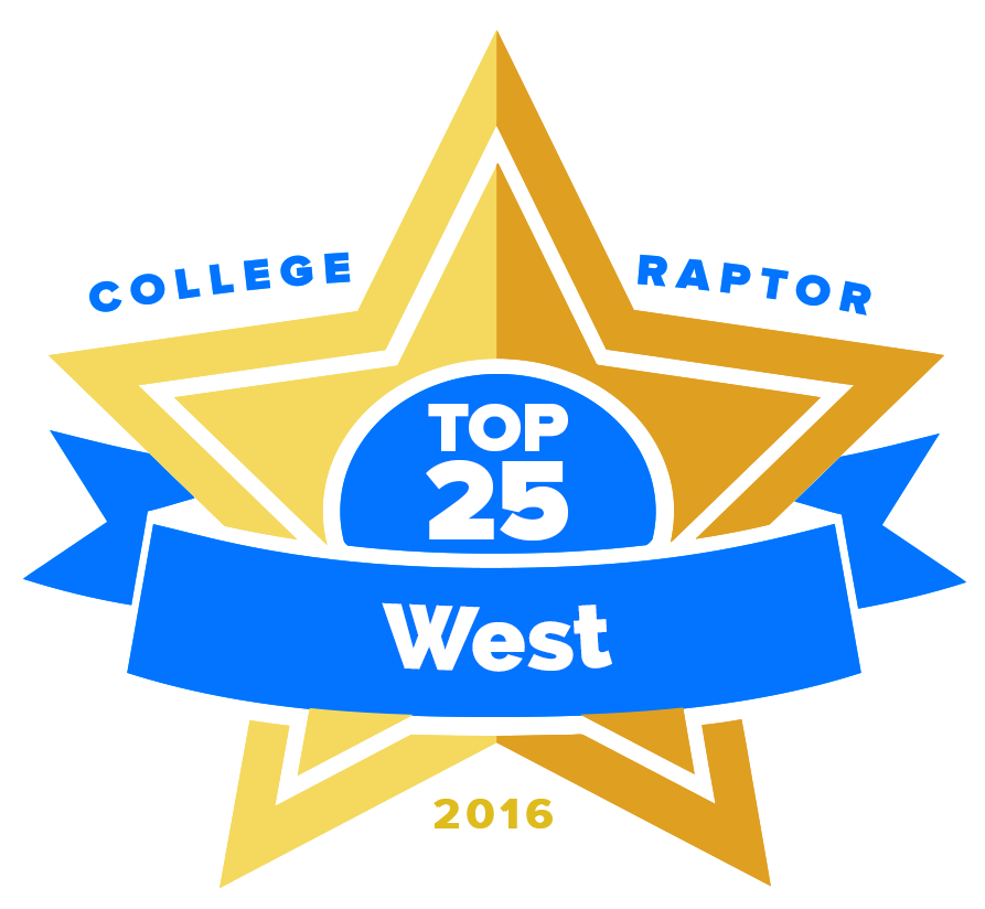 """A gold star badge that says """"College Raptor Top 25 West 2016."""""""