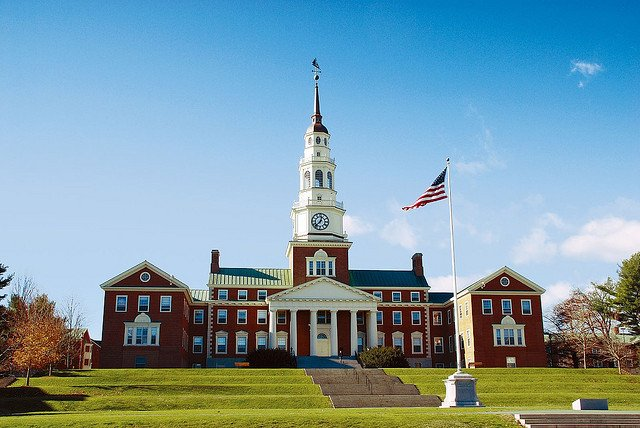 Miller Library on a sunny day at Colby College.
