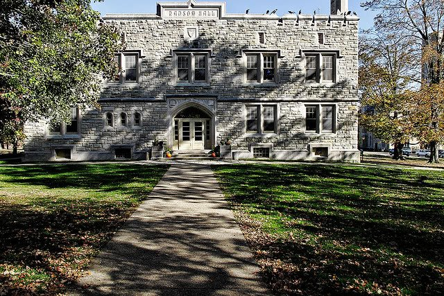 Leaves scattered around the lawn of Ransom Hall in Kenyon College.