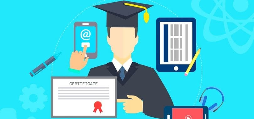 An illustration of a student with a certificate.