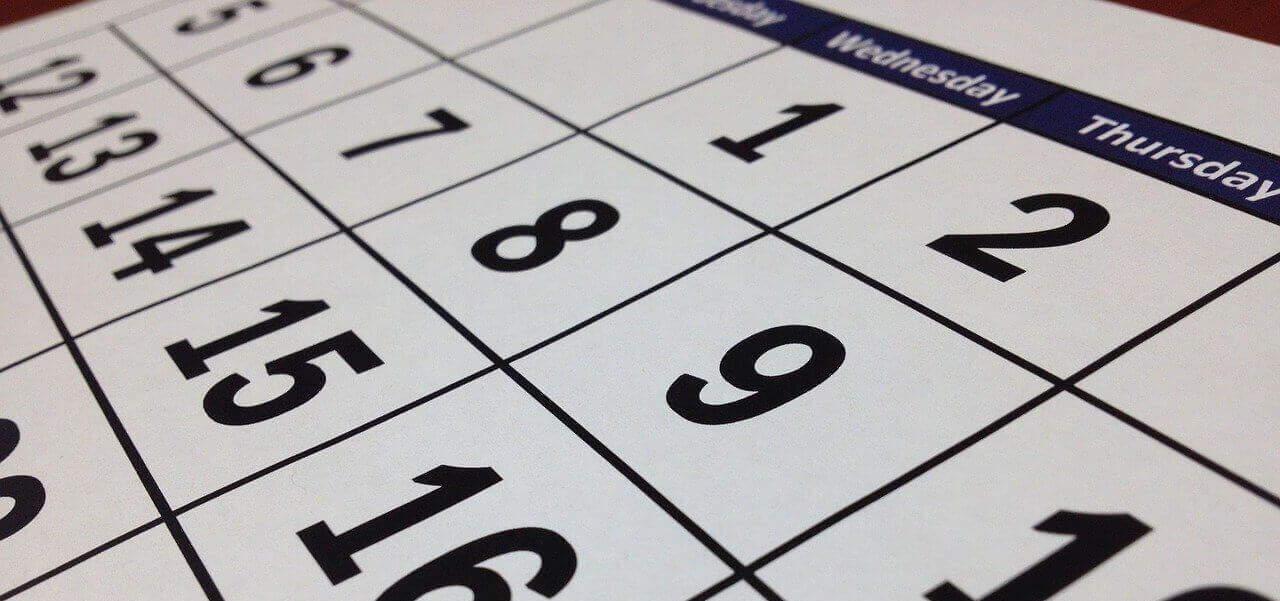 Close up shot of a calendar.