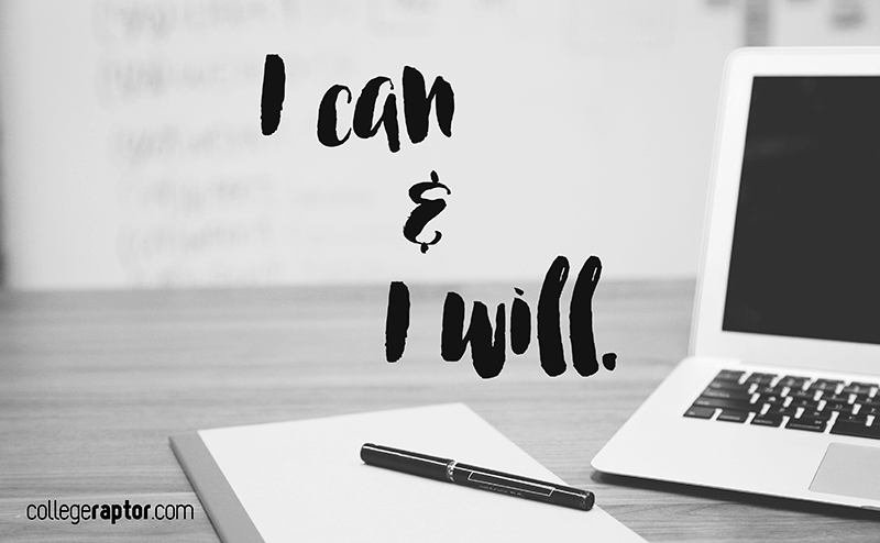 """Picture of a desk and a laptop, with text overlayed that says """"I can and I will""""."""