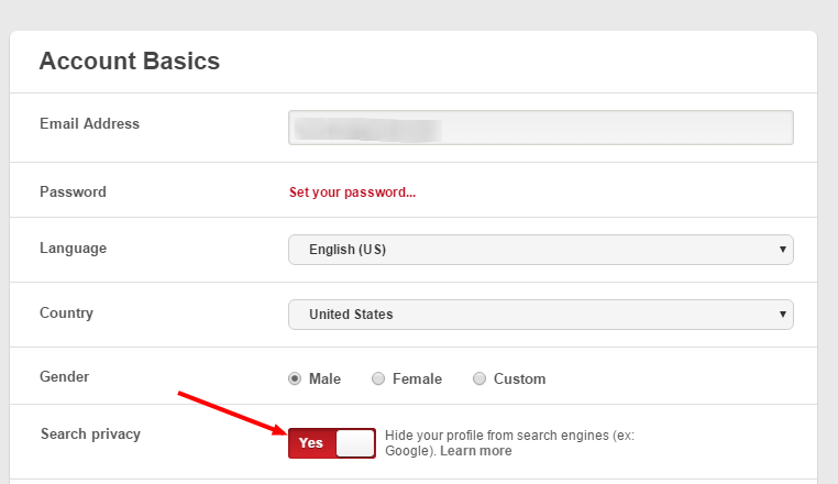 Pinterest account basics setting screenshot with arrow pointing to the Yes option in search privacy.