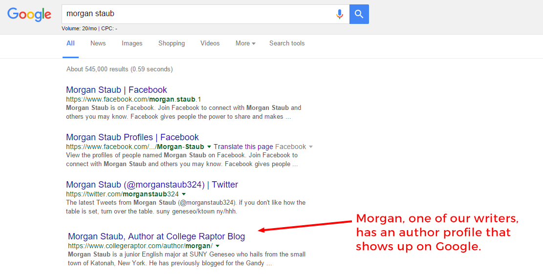 """Google search for Morgan Staub with overlay text that says """"Morgan, one of our writers, has an author profile"""" and arrow pointing to the 4th result."""