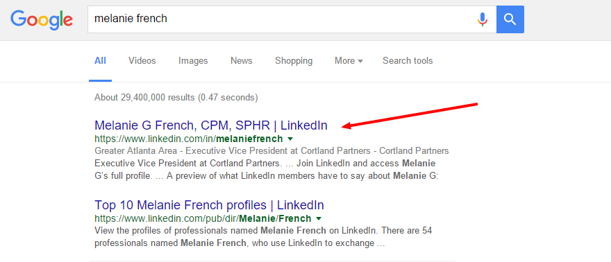 Google search for Melanie French with arrow pointing to the first search result.