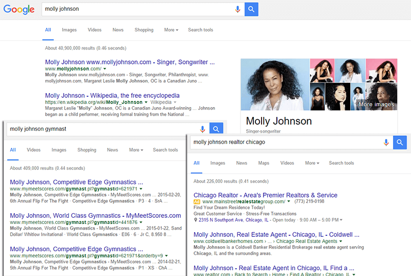 Google search engine showing multiple search results for Molly Johnson.