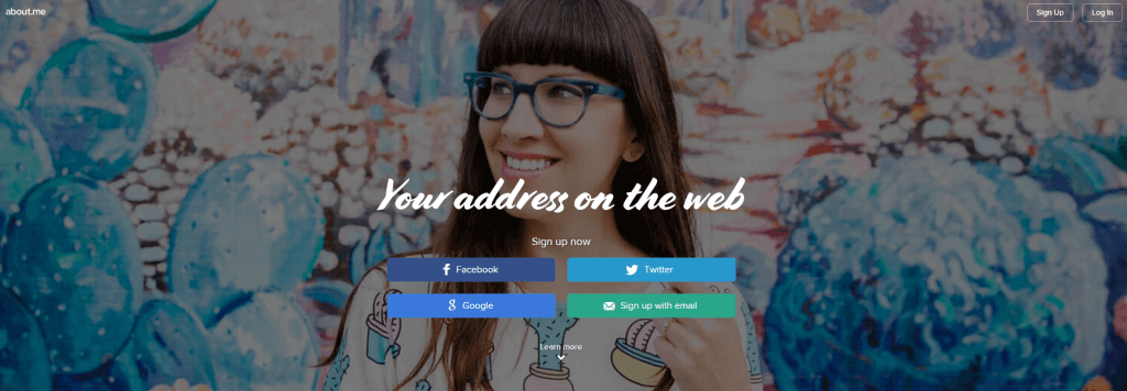 """About.me website screenshot with a girl wearing eye glasses in the background with overlay text that says """"Your address on the web."""""""