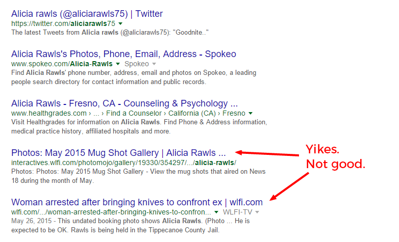 """Google search of Alicia Rawls with overlay text that says """"Yikes, not good"""" while pointing to the search results."""