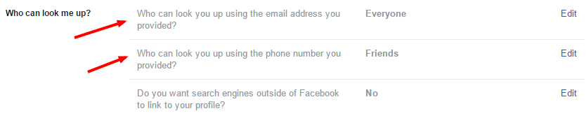 """Facebook Privacy Settings and Tools screenshot with arrow pointing to """"Who can look me up?"""" options."""
