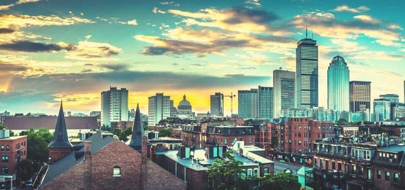 Downtown Boston at sunset.