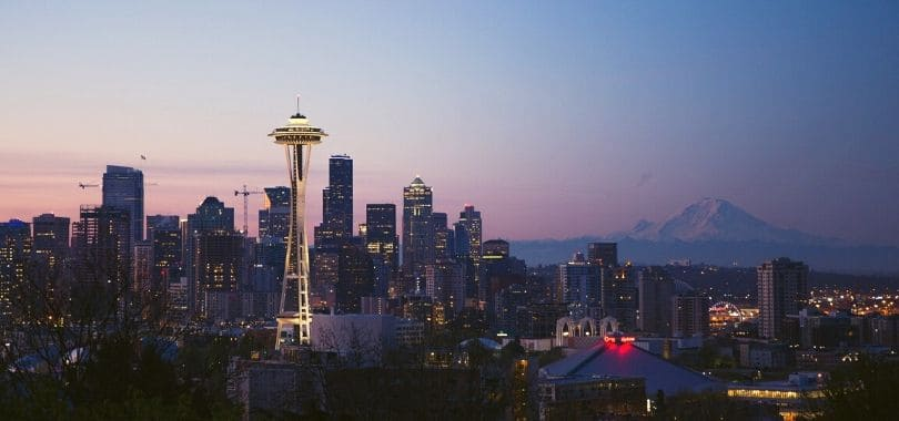 Downtown Seattle at sunset.