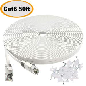 Coiled white Cat 6 ethernet cable with clips. Click to view the Amazon Page.