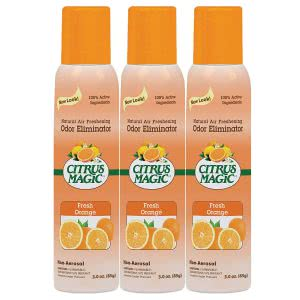 3 Citrus Magic orange-scented air freshener cans. Click to view the Amazon page.