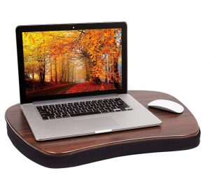 Sofia and Sam wood-design lapdesk with laptop and mouse resting on it. Click to view its Amazon page.