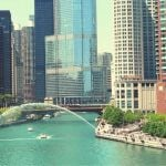 A picture of downtown Chicago with the river running through the city.