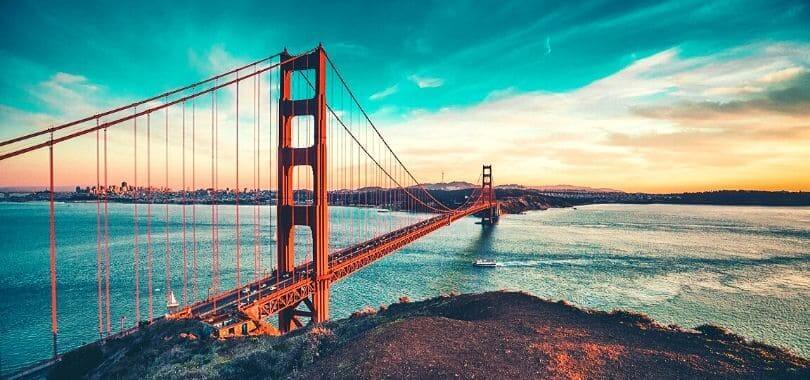 The Golden Gate Bridge at sunrise.