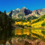 A lake in a forested mountain.