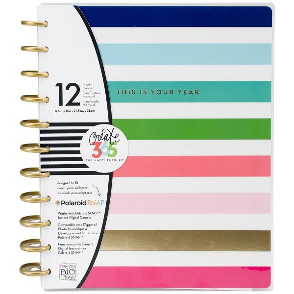 A Me & My Big Ideas colorful stripe student planner. Click to view its Amazon page.