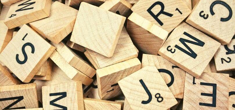 A pile of Scrabble tiles.