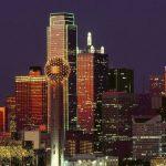 The Dallas city skyline at night.